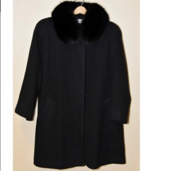 Vintage Black Spacious Wool Coat Forecaster Of Boston Jacket Wool And Genuine Saga Black Fox Collar Plus Size 16 18 XXL 3XL MINT With Tags